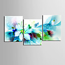 3現代の抽象青い花のキャンバスセット、キャンバスがハングアップする準備ができて印刷するストレッチ