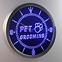 nc0291 pet grooming dog cat obchod neonový nápis LED nástěnné hodiny
