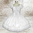 甘い女性ノースリーブ膝丈白い綿の学校のロリータドレス