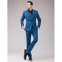 スーツ スリムフィット スリムノッチドラペル シングルブレスト 一つボタン 3点 ブルー ストレートフラップ