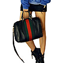 Erlen Ženska korejski stil šarene prugice Vintage jednog ramena / Crossbody torbica (crna)