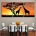 e-HOME® žirafa a strom hodiny v plátěných 3ks