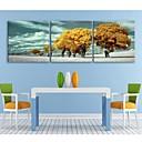 e-HOME® plátně umění žlutou strom dekorace malířské sadu 3