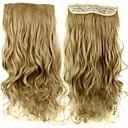 24 palců 120g dlouho tepelně odolná syntetická vlákna písečná blond vlnité klip v prodlužování vlasů s 5 klipy