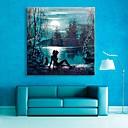e-HOME® protáhl vedené na plátně umění Moon Lake blesk efekt LED bliká optického vlákna tisk