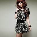 J & C Dámský kulatý výstřih Letní Ladies Silk Floral Lace šifon šaty