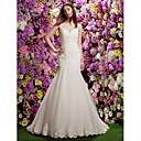 Lanting Bride® Mořská panna Drobná Svatební šaty Průsvitné Velmi dlouhá vlečka Klenot Krajka s