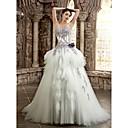 A-Linie Drobná / Nadměrné velikosti Svatební šaty Barevné svatební šaty Extra dlouhá vlečka Bez ramínek / Srdce Satén s
