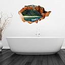 3D stěna nálepky na stěnu, bílá kánoe koupelnové dekorace nástěnná pvc samolepky na zeď
