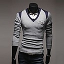 Men's Casual Pure Long Sleeve Regular Pullover (Cotton Blends)