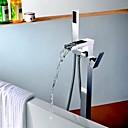 現代風 床取付け ハンドシャワーは含まれている / 床置き with  セラミックバルブ シングルハンドルつの穴 for  クロム , シャワー水栓 / 浴槽用水栓