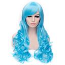 Europski i američki modni svijetlo plava skloni bang kovrčave kose perika