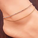 女性のシンプルな結晶銅ビーズダブルタッセルアンクレット