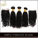 4pcs puno Mongolski kinky kovrčave kose djevica sa zatvaranjem 3bundles neprerađeni mongolski ljudske kose potke čipkom zatvaranja