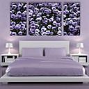 E-home® pruži platnu si ljubičasto cvijeće ukrasne slikarstvo set 3