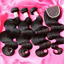 ホット販売ブラジルボディウェーブヘア織り、閉鎖と12-26inchブラジルのバージン毛