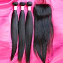 Hot Prodej brazilský 12-26inch panenské vlasy svazky s uzávěrem