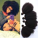 """4ks lot 10-26 """"nezpracované surové indická panna lidské vlasy tkát afro kniky kudrnaté barva přírodní černé vlasy svazky"""