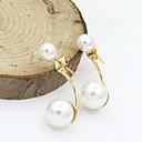 Naušnica Sitne naušnice / Viseće naušnice Jewelry 2pcs Imitacija bisera / Umjetno drago kamenje / Pozlaćeni Žene Zlatna / Bijela