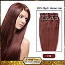 febay marke 20-22inch 8pcs 100g / set tamno kestenjaste (# 33) indijska Remy kose Isječak ljudske kose