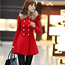 Women's Round Coats & Jackets , Cotton Blend Casual/Work Long Sleeve SKY
