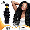 4個ブラジル深い波髪の束は、漆黒の100%未処理のブラジル人毛横糸を編みます