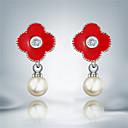 Visací náušnice Perly Napodobenina perel Postříbřené Módní Černá Červená Šperky 2pcs