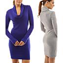 Sexy / Ležérní / Práce Vysoký límec - Dlouhé rukávy - ŽENY - Dresses ( Bavlna )