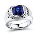 Prstýnky,Stříbro Diamant / imitace Sapphire / imitace Diamond Square Shape Párty / Denní / Ležérní / Sport / N/A Šperky Stříbro / Drahokam