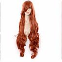 horké červené hnědá paruka anime paruky kudrnaté vlasy nakloněn bang syntetické paruky