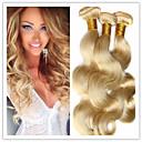 3pcs/lot Hair #613 Bleached Platinum Blonde Brazilian virgin Human Hair Body Wave Weaves Wavy Extensions Machine Weft