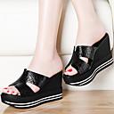 Ženske cipele-Sandale-Ured i karijera / Formalne prilike / Ležerne prilike-Umjetna koža-Puna potpetica-Pune pete-Crna / Srebrna