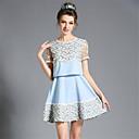 aofuli夏のファッションの女性のプラスサイズヴィンテージ刺繍レースパッチワークを通して線ショートドレスを参照してください.