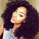 黒人女性のための巻き毛の完全なレースのかつら/アフロカーリー完全なレースのかつら変態安いブラジルのバージン人毛グルーレス