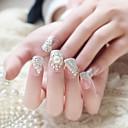 24PCS /セット偽の爪偽の爪終えマニキュア爪のヒントホワイトパール