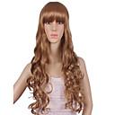 luonnollinen pitkä ruskea väri suosittu aalto synteettinen peruukki nainen