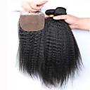 slove vlasy malajské grade 7a nezpracovaný 100% lidské vlasy Kinky panna rovné svazky se zapínáním na hedvábí základny