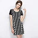 LIFVER Women's Crew Neck Short Sleeve Tea-length Dress-D86
