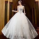 A-Linie Svatební šaty Na zem Bez ramínek Tyl s Aplikace / Korálky