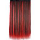 26 palců klip v syntetických vícebarevných rovné prodlužování vlasů s 5 svorkami