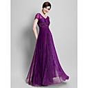 Lanting Bride® A-Linie Větší velikosti / Malé Šaty pro matku nevěsty Na zem Krátký rukáv Organza - Aplikace / Korálky / Sklady