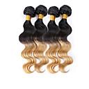 4ks / lot panna lidské vlasy spřádá vlna tělo vlasy útek brazilští svazky vlasy Ombre brazilský lidské vlasy spřádá