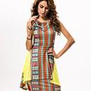 En couleur Femme Col Arrondi Sans Manches Au dessus des genoux Robes-5524