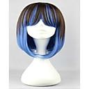 capless plave i smeđe cosplay mix boje duge ravne lolita perika
