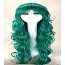 capless zelené paruky dlouhé vlnité syntetické vlasy, paruky ženský kostým paruka