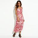 ženska plava / crvena okrugla ispis šifon plaža maksi haljina