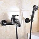 Současné Nástěnná montáž Single Handle dva otvory in Olejem třený bronz Koupelna Umyvadlová baterie