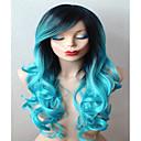Teal plava perika duga kovrčava kosa s tamnim korijenima perike izdržljiv toplinski otporna modne perika za svakodnevnu upotrebu ili