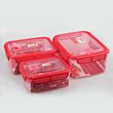 3枚のプラスチックのロックとシール食品容器のマイクロ波安全なセット