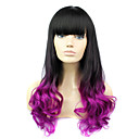 Fashion Style Long Wavy Wig with Bangs Ombre Black and Purple Color Synthetic Wigs for Women